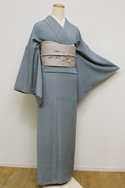 銀座【C-1708】繍一ッ紋 江戸小紋 藍鼠色 鮫(落款入)