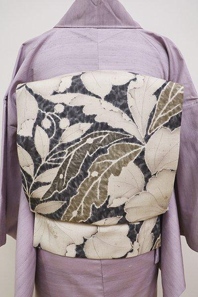 銀座【K-6309】紬地 染名古屋帯 練色×褐色 芙蓉とヤツデの図