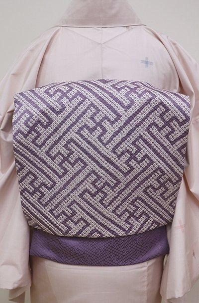銀座【K-6310】絞り染め名古屋帯 鳩羽色 紗綾形文