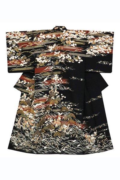 銀座【着物2572】訪問着 黒色 波に霞・折々の花木の図