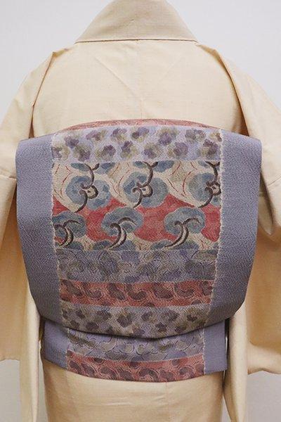 銀座【K-6312】京都多ち花製 染名古屋帯 桔梗鼠色 抽象文の横段(短め)