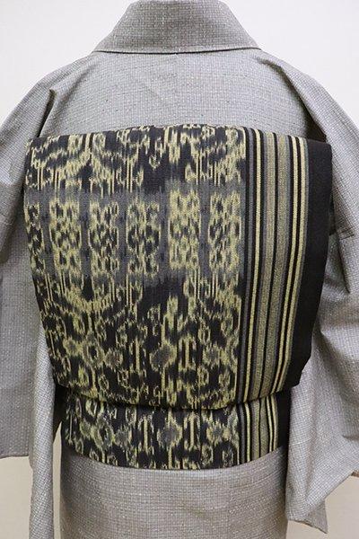 銀座【K-6314】木綿地 織名古屋帯 黒色×砥粉色
