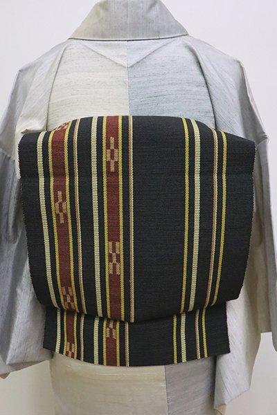 あおき【K-6316】ミンサー織 名古屋帯 黒緑色 縞に絣文