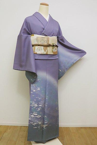 銀座【B-2311】寿光織 付下げ 紫苑色 水面の風景 (落款入)