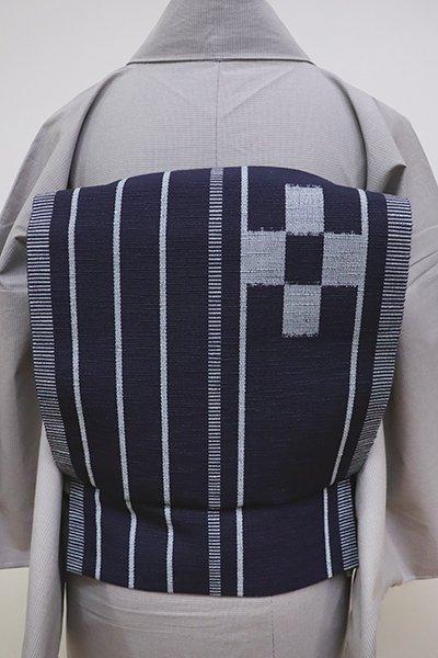 あおき【K-6318】ミンサー織 八寸名古屋帯 青褐色 縞に絣