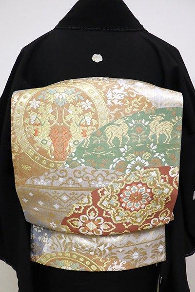 銀座【L-4656】袋帯 白鼠色 上代裂文 青海波取り