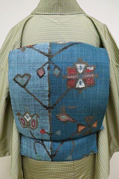 銀座【K-6323】紬地 織八寸名古屋帯 花浅葱色 花枝の図