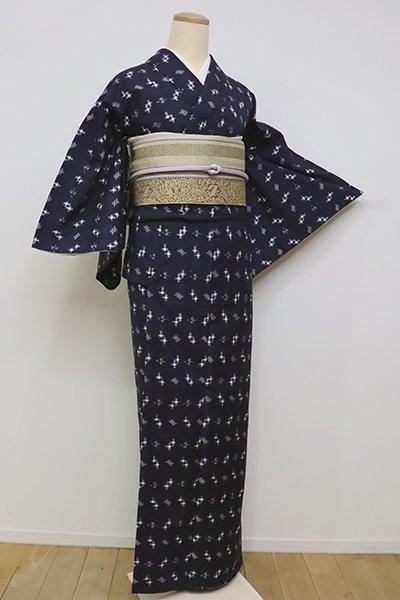 銀座【A-2927】(S)胴抜き単衣 紬 濃藍色 絣文