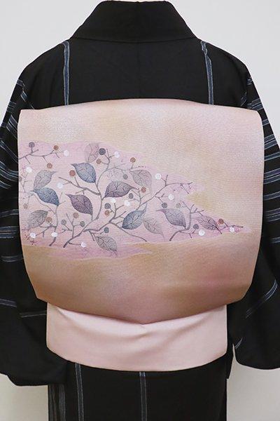 あおき【K-6326】染名古屋帯 灰桜色 枝葉の図
