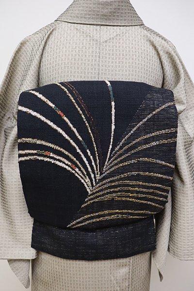 銀座【K-6328】紬地 織八寸名古屋帯 羊羹色 芒の図