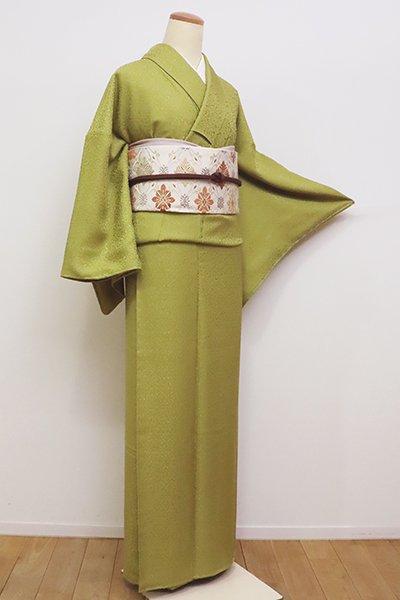 銀座【C-1714】(L)繍一ッ紋 色無地 青朽葉色 花の地紋