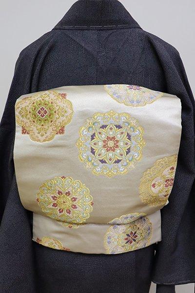銀座【L-4666】西陣 本家加納製 袋帯 練色 華文(落款入)
