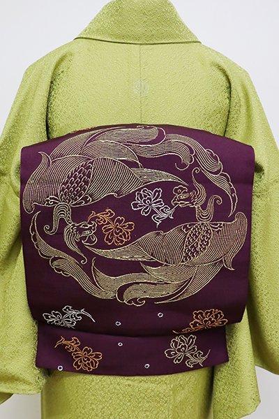 銀座【L-4668】龍村平蔵製 本袋帯 紫紺色 「唐花鳳凰錦」