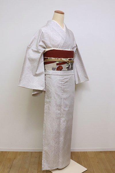 銀座【A-2931】(広め)単衣 白大島紬 白練色 麻の葉文