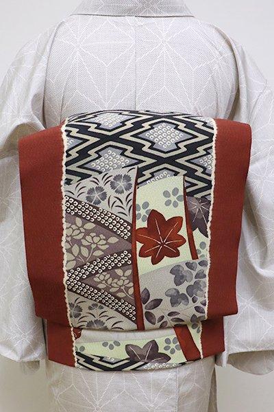 銀座【K-6336】京都多ち花製 染名古屋帯 赤銅色 松皮菱や秋草の図