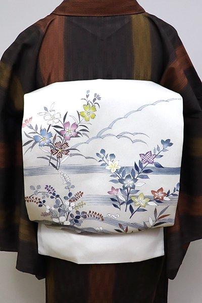 銀座【K-6338】塩瀬地染名古屋帯 絹鼠色 秋草の図