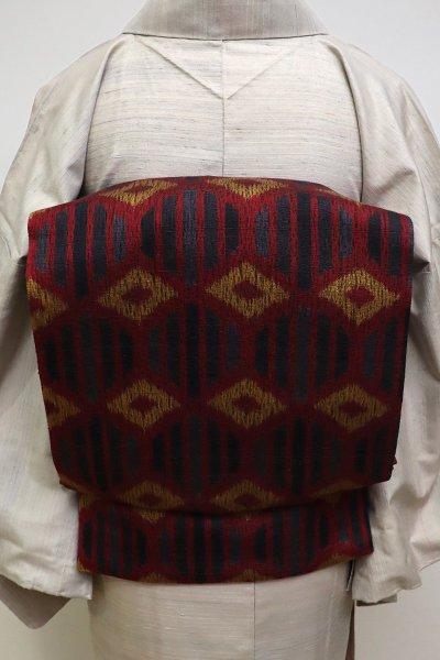 銀座【L-4670】櫛織 洒落袋帯 赤銅色×濃墨色 縞に菱文