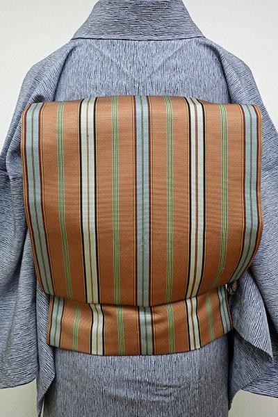 銀座【K-6341】織名古屋帯 灰茶色 竪縞
