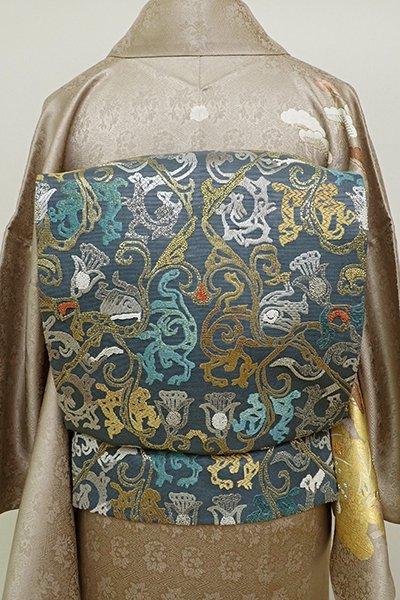 銀座【L-4672】総刺繍 袋帯 錆鉄御納戸色 装飾花唐草文
