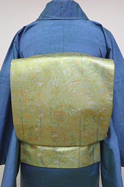 あおき【L-4673】白山工房製 牛首紬地 洒落袋帯 抽象文(落款入)