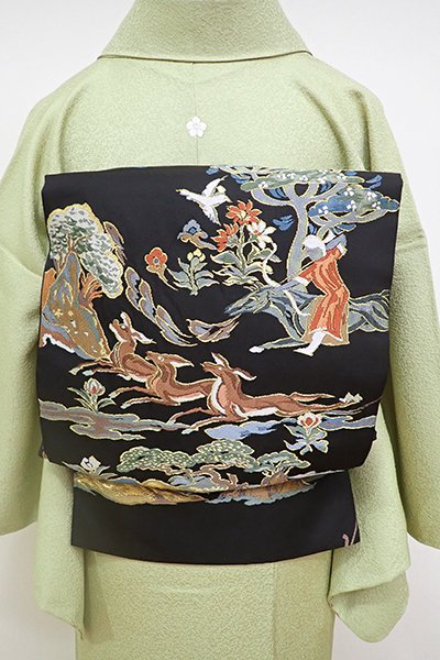 銀座【L-4674】西陣 となみ織物製 仙福屋宗介 本袋帯 黒色 上代狩猟文(落款入)
