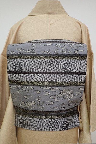 銀座【L-4676】袋帯 墨色 横段に龍虎や源氏香