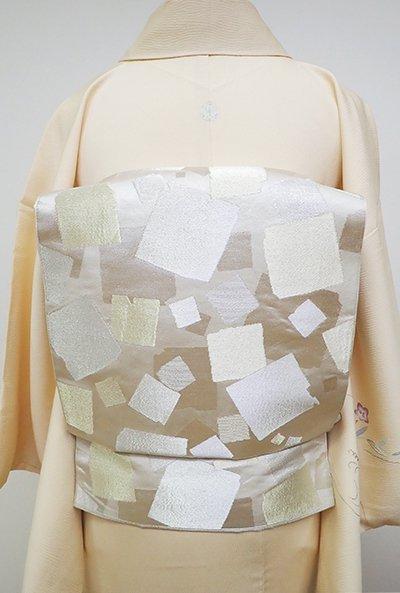 銀座【L-4680】西陣 川島織物製 本袋帯 胡粉色 切箔文(落款入)