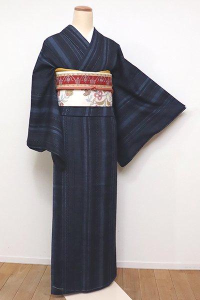 銀座【A-2936】(広め)紬 濃藍色 竪縞に小絣