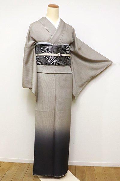 銀座【B-2325】(広め)付下げ 利休白茶色×藍鉄色 竪縞に裾暈かし