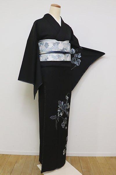 銀座【B-2326】総刺繍 付下げ 黒色 葡萄の図(洒落紋付き)