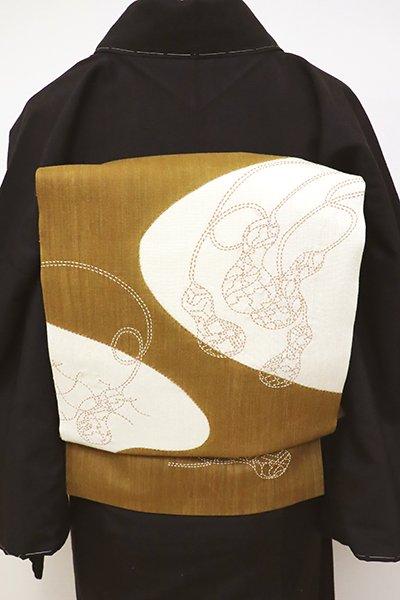 銀座【K-6343】紬地 刺繍 名古屋帯 黄土色 瓢箪の図(三越扱い)