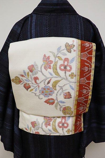 あおき【K-6344】紬地 織名古屋帯 白色 更紗文(銀座越後屋扱い)