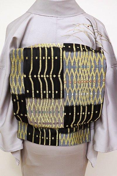 銀座【L-4682】袋帯 黒色×金色 抽象文