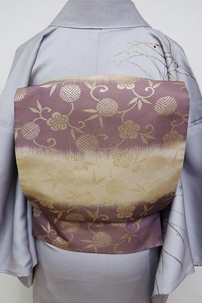 銀座【L-4683】袋帯 丁子色×濃色 横段に笹蔓文