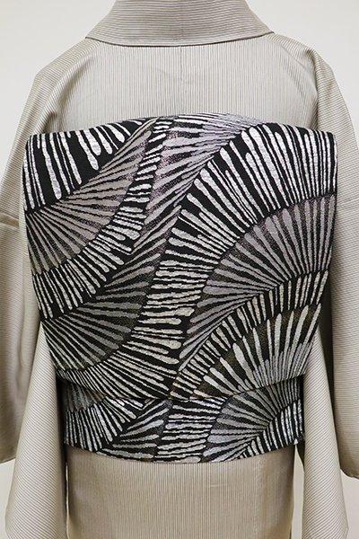 銀座【L-4684】袋帯 黒色 抽象文