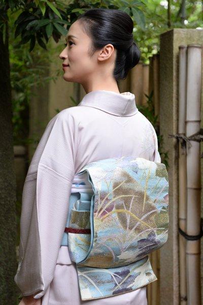 あおき【帯3129】龍村平蔵製 夏本袋帯「光悦大沢文」