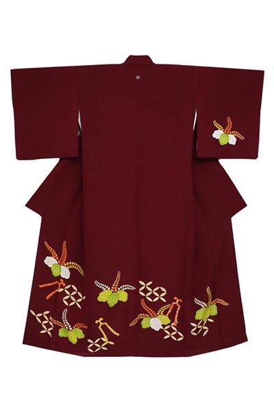 銀座【着物2588】銀座志ま亀製 繍一ッ紋付下げ 葡萄茶色 桐花に琴柱の図