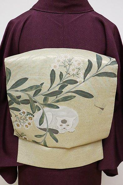 フェア【FR1909-L3】袋帯 金色 秋草と猫の図