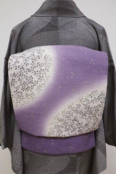 フェア【FR1909-L1】紬地 染洒落袋帯 紫苑色 円に萩の図