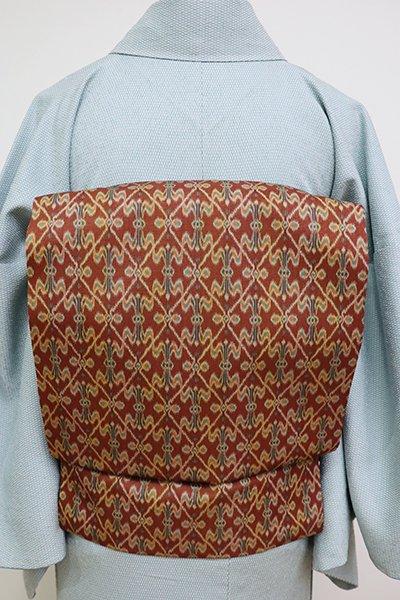 フェア【FR1909-K22】西陣 龍村美術織物製 光波帯 柿茶色 太子間道(証紙付)(N)
