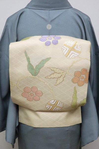 銀座【K-6392】西陣製 織名古屋帯 蜂蜜色 笹蔓文(証紙付)(N)