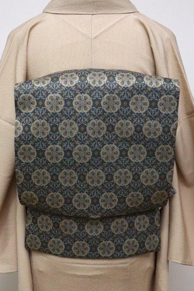 銀座【K-6394】龍村美術織物製 光波帯 錆鼠色 花鳥梅花文錦