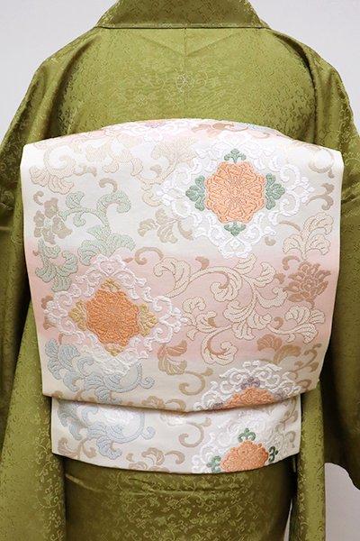 銀座【K-6396】織名古屋帯 白色×一斤染色 唐草に華文