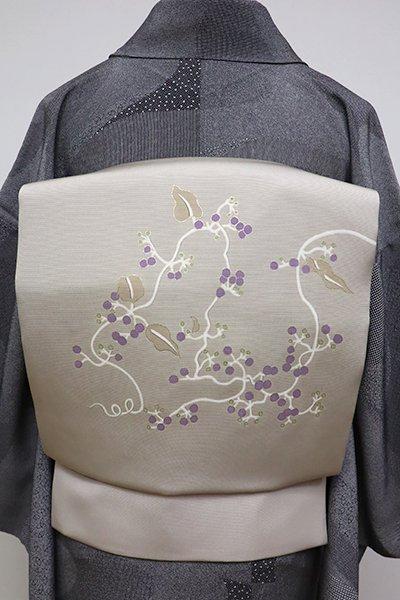 銀座【K-6397】塩瀬 染名古屋帯 枯野色 実のなる植物の図