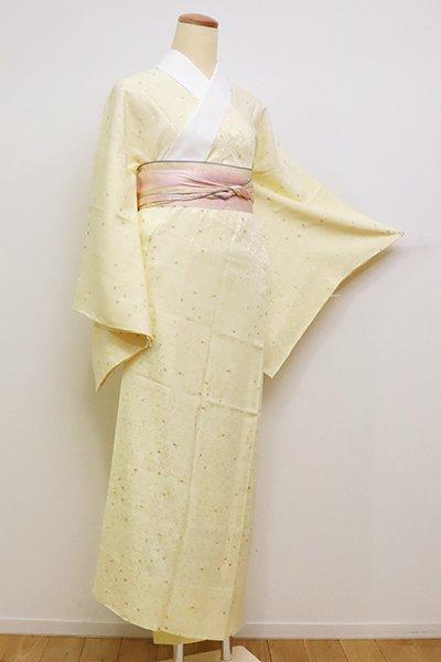 銀座【F-396】長襦袢 淡黄色 小花文