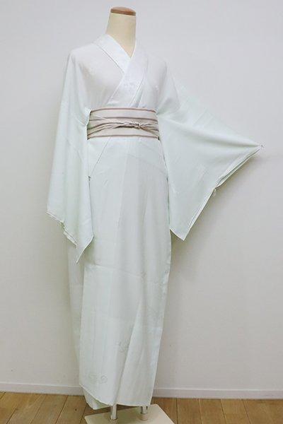 銀座【F-399】長襦袢 白緑色 縁起物尽くしの地紋