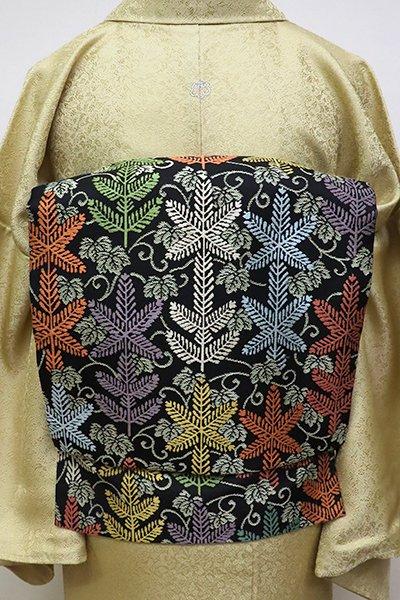 フェア【FR1909-K6】西陣 川島織物製 織名古屋帯 黒色 若松に唐草文 (落款入)