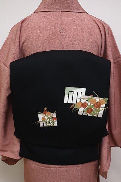 銀座【K-6402】塩瀬地染名古屋帯 黒色 源氏香に秋草の図