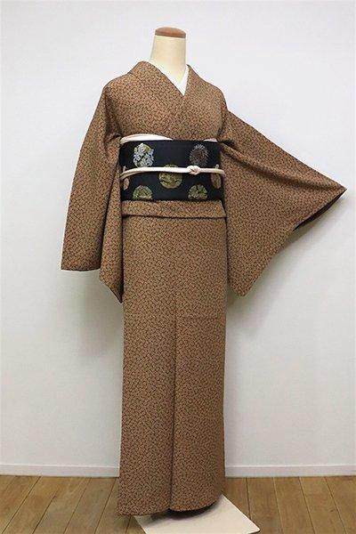銀座【C-1746】(L・広め)江戸小紋 芝翫茶色 梅鉢文