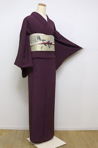 フェア【FR1909-C14】(S)人間国宝 中村勇二郎 伊勢型小紋 紫鳶色 古代菊(落款入)